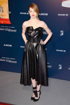 Emma Stone stuns in a strapless leather Lanvin dress. Find out how to recreate her look here.