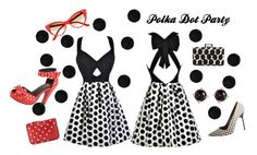 """""""Polka Dot Party"""" by lilyboutique ❤ liked on Polyvore featuring Manolo Blahnik, Lanvin, Comme des Garçons, T.U.K., Irene Neuwirth, dress, party, blackandwhite, polkadot and LilyBoutique"""