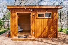 The Urban Studio is easily one of our most versatile styles: it can be a home office, pool cabana, workshop, or simply a garden shed! Office Pool, Backyard Office, Backyard Studio, Vertical Siding, Pool Cabana, Cedar Siding, Cabin Homes, Home Studio, Building Plans