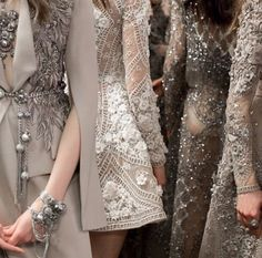 Taupe influences ~ Elie Saab lace & embellishment