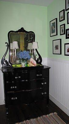 painted vintage dresser shiny black, new handles  Tamara Stephenson Interior Design