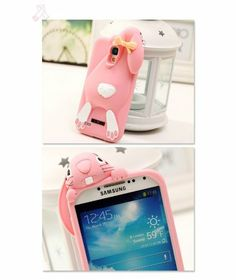 Cute 3D Rabbit Silicone Cover Back Case for Samsung Galaxy S4 i9500, S3, Note 2, Note 3, iPhone 4/4s/5/5s