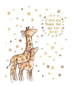 'I Love You' Giraffe Print