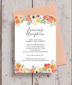 Personalised Coral & Blush Flowers Evening Wedding Reception Invitations. With hand painted watercolour / watercolor florals in blush pink, peach, yellow, coral and orange with calligraphy style fonts. This stunning wedding stationery range includes Save the Date cards, invites, enclosure / information cards, gift wish / poem cards, reply / RSVP cards, table names and numbers, menus and more. Available as a digital printable PDF for or printed & delivered.