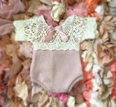 Newborn Mauve Lace Romper baby jumper  stretch by PetuniaandIvy