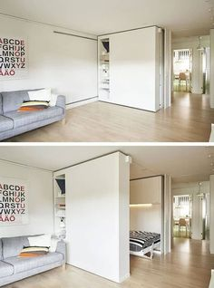 """Flexible Space, or movable walls, are changing the world of design. For those who live in very small spaces, the flexible walls offer an ideal solution for storage as well as optimal space utilization. Now, IKEA has introduced its own version of the """"wall Ikea Small Spaces, Tiny Spaces, Small Space Living, Small Rooms, Small Apartments, Living Spaces, Ikea Small Apartment, Ikea Studio Apartment, Small Space Bedroom"""
