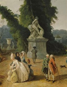 View of the garden of Versailles during the  cutting of the trees in the winter of 1774-1775  (detail of the painting with Louis XVI and Marie-Antoinette ), 1775 by Hubert Robert (1733-1808) (Réunion des musées nationaux)