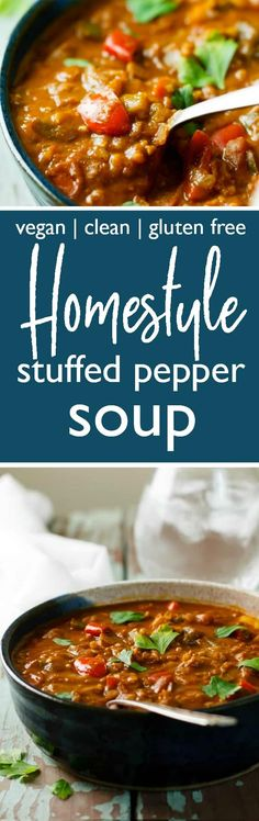 Homestyle Stuffed Pepper Soup takes all the best parts of stuffed peppers and puts them in a delicious, filling soup! It's extra nutritious and is made with healthy vegan and gluten free ingredients.