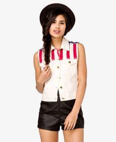 American Flag Denim Vest | FOREVER21 - 2018608595 LOVE IT SO MUCH