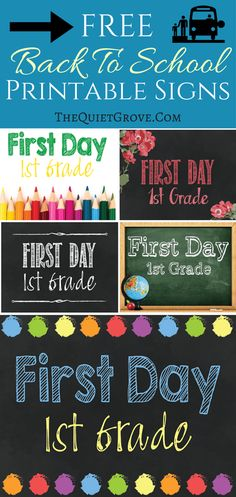 5 FREE Back to School Printable Sign Sets. Free First day of School Printable signs. Pre-k, Kindergarten, 1st grade- 12th Grade. Ready to print, frame and use for back to school photos.