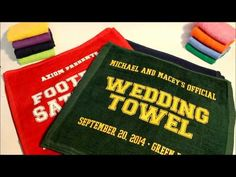 Our silkscreened Wedding Towels make great guest favors for your football themed wedding.  Pair them with a set of invitations and programs for a deeper discount.  #footballwedding  #stwdotcom