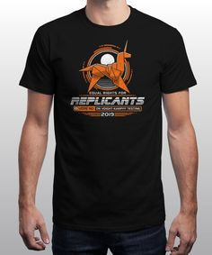 """Equal Rights for Replicants"" is today's £9/€11/$12 tee for 24 hours only on www.Qwertee.com Pin this for a chance to win a FREE TEE this weekend. Follow us on pinterest.com/qwertee for a second! Thanks:)"