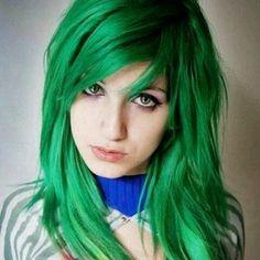 Wow green hair weird but pretty