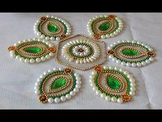 How to Make rearrangeable kundan Rangoli (hexagon flower) Rangoli Designs Flower, Rangoli Patterns, Rangoli Border Designs, Rangoli Designs Diwali, Rangoli Designs Images, Flower Rangoli, Rangoli Ideas, Bead Embroidery Patterns, Hand Embroidery Designs