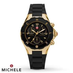 Michele-MWW12F000007-Womens-Jelly-Bean-Chrono-Gold-Plated-Black-Silicon-Watch
