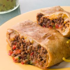 Serve this baked beef chimichanga with salsa sauce and sour cream.