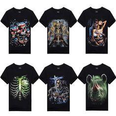 Cheap t-shirt fashion, Buy Quality t-shirt neon directly from China t-shirt Suppliers:  Fashion Men 3D Animal Skull Print Shirts Cozy Crew Neck Top Tee T-Shirt