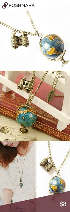 3D Globe Necklace --Perfect for travel lovers!! Very pretty gold and blue 3d necklace of a globe / world map. The globe spins in your hands. Chain Length is around 67cm with extension option of 10cm. The pendant measures around 2.4cm by 4cm. Great gift for anyone that loves to travel the world. Wanderlite Jewelry Necklaces
