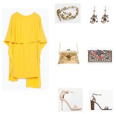 look boda noche vestido amarillo