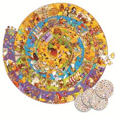 Djeco's World History Discovery Puzzle represents a spiral of the times, from the creation of the world to the present age. This large 350-piece puzzle is also a game of observation and includes a fold-out booklet to identify the main events in world history. Great for the whole family! #djeco #puzzle #worldhistory #Christmas2013