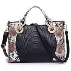 2016 Snake Skin Bags Women Handbag Luxury Serpentine PU Leather Handbags Women Hand Bags Designer Famous Brand Shoulder Bag Tote