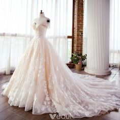 Wedding Gown Elegant Champagne Wedding Dresses 2018 Ball Gown Lace Appliques Pearl Off-The-Shoulder Backless Sleeveless Cathedral Train Wedding - Puffy Wedding Dresses, Wedding Dresses 2018, Lace Wedding Dress Ballgown, Fairytale Wedding Dresses, Champagne Wedding Dresses, Wedding Dresses With Color, Snow White Wedding Dress, Disney Inspired Wedding Dresses, Disney Wedding Gowns