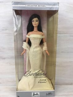 Barbie Doll Birthstone Collection June Pearl Brunette NRFB 2002 Mattel  #Mattel #DollswithClothingAccessories