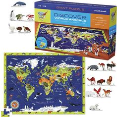 This Crocodile Creek's 100 pc world geography puzzle comes with 21 stand-up animal figures for seek-n-match game or creative play! Manufactured by Crocodile Creek.