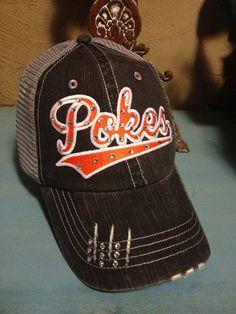 OSU Cowboys Oklahoma State Pokes Baseball Bling Ladies Womens Trucker Hat