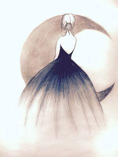 Illustration Moon Art is the way u imagine. No imagination no art. & nothing is better tha. Girl Drawing Sketches, Girly Drawings, Art Drawings Sketches Simple, Pencil Art Drawings, Beautiful Drawings, Easy Drawings, Drawing Ideas, Beautiful Images, Drawing Tips