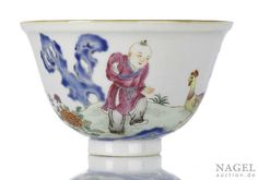 A porcelain chicken bowl with boy and flowers near poem, China, underglaze blue four-character seal mark and period of Qianlong