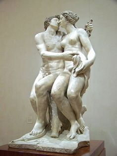 """Atalanta and Meleager with the Calydonian Boar"" c.1564 by Francesco Mosca (Florence 1525 - Pisa 1578). Carrara Marble (206x102cm) The Nelson-Atkins Museum of Art, Kansas city. Artemis was forgotten at a sacrifice by King Oineus, she sent a wild boar that ravaged the land. Atalanta joined Meleager, and other heroes on a hunt for the boar. Many were angry that a woman was joining. Meleager, lusted for Atalanta, persuaded them. She became the first to hit the boar. After Meleager killed the…"