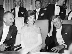 Inaugural Ball First lady Jacqueline Kennedy and President John F. Kennedy, with Vice President Lyndon B. Johnson, attend an inaugural ball on January Jacqueline Kennedy Onassis, John F Kennedy, Dior Gown, Kathy Griffin, Inauguration Ceremony, Popular People, American Presidents, Ball Gowns, Lady