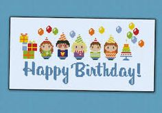Happy Brithday Party PDF cross stitch pattern by cloudsfactory Cross Stitch Kits, Cross Stitch Charts, Cross Stitch Designs, Cross Stitch Patterns, Happy Brithday, Happy Birthday Parties, Fuse Bead Patterns, Beading Patterns, Fuse Beads