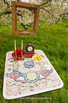 Broken China Mosaic Table  Vintage  Mosaic by TheMosaicButterfly, $1250.00