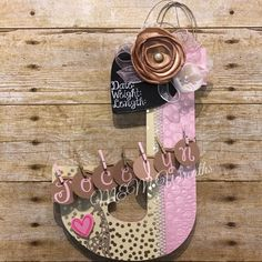"""Baby letter for Jocelyn! In the style """"the Rosalie"""" who knew a """"J"""" could be the trickiest letter to design! Door Letters, Baby Letters, Baby Door Hangers, Hospital Door Hangers, Baby Shower Wall Decor, Shops, Letter J, Door Wreaths, Halloween"""