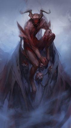 ArtStation - Watcher, Tatiana Vetrova Scary Monsters, Dnd Monsters, Dark Artwork, Creature Concept Art, Image Painting, Monster Design, Fantasy Inspiration, Dark Fantasy Art, Anime Demon