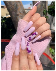 French Tip Acrylic Nails, Purple Acrylic Nails, Acrylic Nails Coffin Short, Summer Acrylic Nails, Best Acrylic Nails, Acrylic Nail Designs, Summer Nails, Spring Nails, French Nails