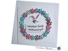 Kartka Wielkanocna z Wieńcem KwiatowymEaster Card with Flower Wreath and Bunny