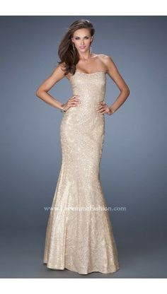 2014 La Femme Prom Dress 19396 Strapless Mermaid Nude