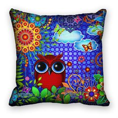 Red Owl Art Pillow Cover Decorative Fantasy Bird Flowers Butterflies 18x18. $35.00, via Etsy.