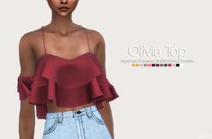 Olivia Top • Original Mesh • 13 Swatches • All LOD's • HQ mod compatible