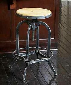 Rustic Adjustable Wood & Iron Barstool Cabin Country Bar Stool Vintage Metal