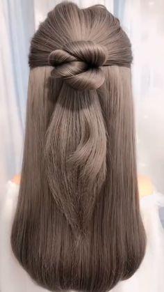 Easy Hairstyles For Long Hair, Bun Hairstyles, Pretty Hairstyles, Straight Hairstyles, Easy Elegant Hairstyles, Ponytail Hairstyles Tutorial, Ponytail Bun, Holiday Hairstyles, Latest Hairstyles