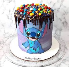 Lilo And Stitch Cake, Lilo And Stitch Quotes, Lilo Y Stitch, Cute Stitch, 23 Birthday Cake, Birthday Cake With Flowers, Disney Birthday, Yummy Things To Bake, Kreative Desserts
