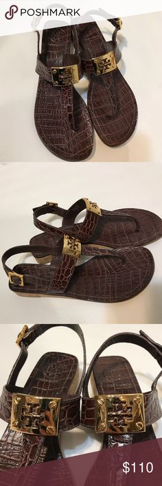 """Tory Burch Crocodile Print Wedge Sandals Tory Burch Cork Wedge t strap sandals with gold hardware. Crocodile print. Worn once or twice but still looks like new! About an 1"""" wedge. Leather uppers and lining. Tory Burch Shoes Sandals"""