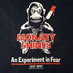 Vintage 1980's Monkey Shines horror movie t-shirt, George Romero cult classic