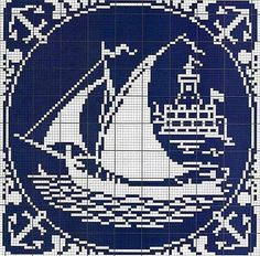 cross stitch pattern by Maureen Cruz Filet Crochet, Crochet Motifs, Crochet Chart, Cross Stitch Sea, Cross Stitch Charts, Cross Stitch Designs, Cross Stitch Patterns, Cross Stitching, Cross Stitch Embroidery