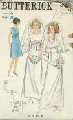 An unused original ca. 1965 Butterick Pattern 3986.  Bridal Gown & Veil or Bridesmaid Dress. Empire line, ankle or street length dress with three-quarter length slim sleeve or sheer applique-trimmed full sleeves with self fabric sleeve band or is sleeveless. Set-in band or bow trim. Bow with or without veil.