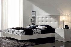 Dormitorio CATIA de Expormim. Cabecero tapizado; cama, mesitas, cómoda, espejo y chifonier de madera de roble, acabados tinte y sólido (blanco laca). Frentes, opcionalmente, lacados.